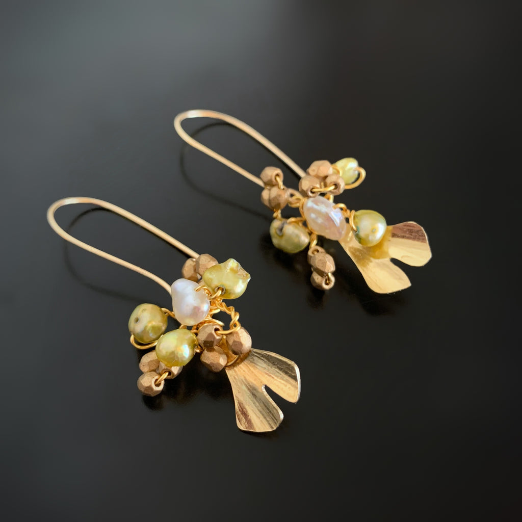 Ginkgo Leaf Bouquet Earrings in Gold with Freshwater Pearl
