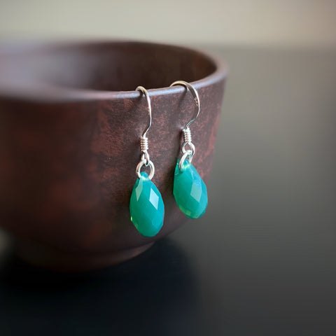 Crystal Teardrop Earrings, Green Opal Color, Sterling Silver
