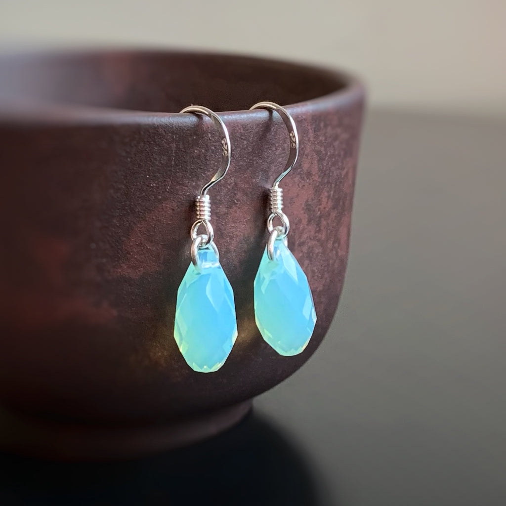 auqa blue opal color crystal teardrop earrings on sterling silver ear wires