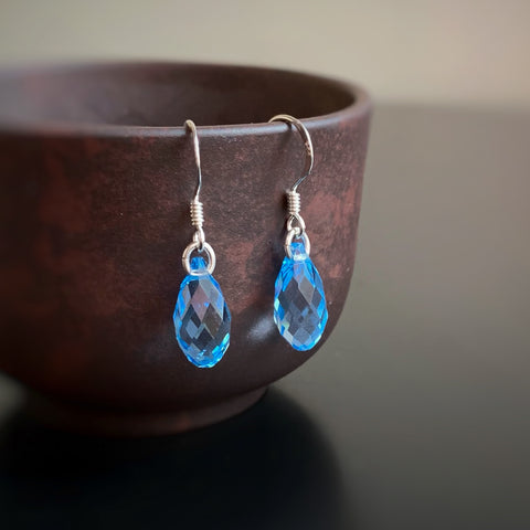 Crystal Teardrop Earrings, Aquamarine Blue Color, Sterling Silver