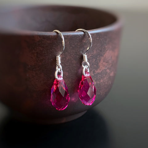 Crystal Teardrop Earrings, Berry Pink Color, Sterling Silver
