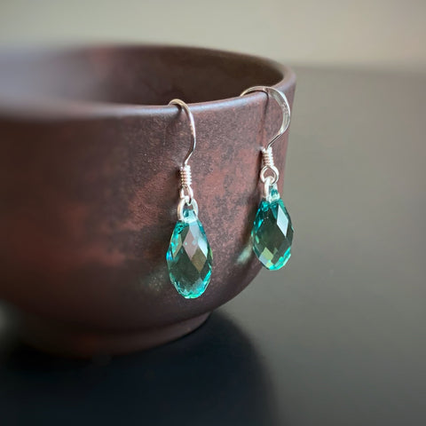 Crystal Teardrop Earrings, Blue Green Sea Color, Sterling Silver