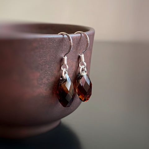 Crystal Teardrop Earrings, Brown Color, Sterling Silver