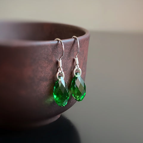 Crystal Teardrop Earrings, Emerald Green Color, Sterling Silver