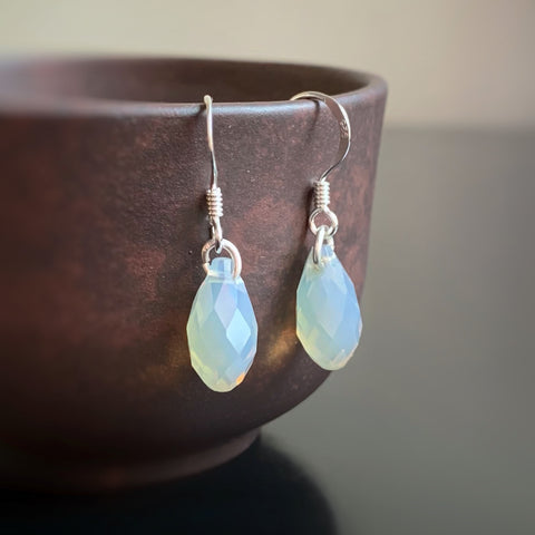 Crystal Teardrop Earrings, Grey Opal Color, Sterling Silver