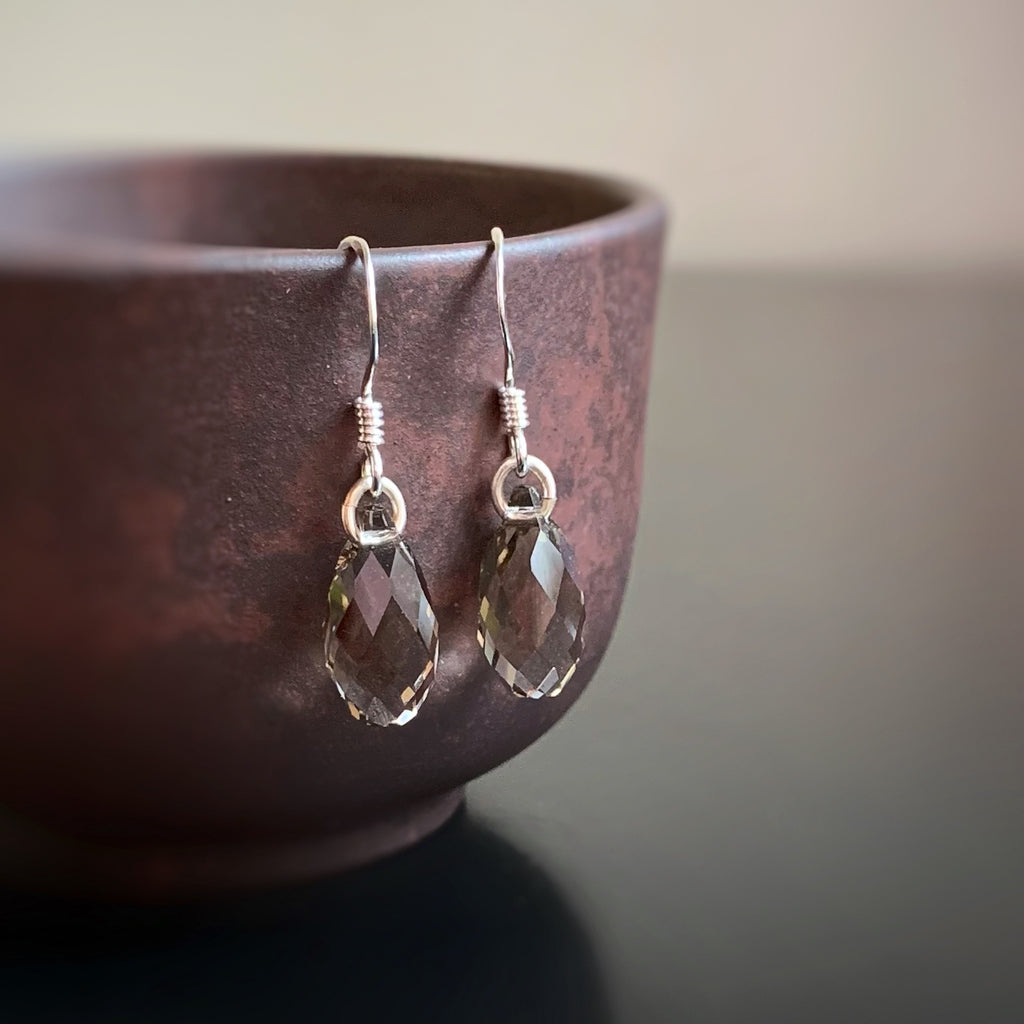 smokey quartz grey crystal teardrop earrings with sterling silver ear wires