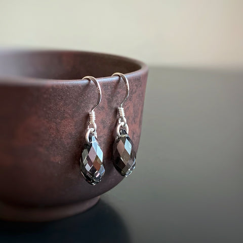 Crystal Teardrop Earrings, Metallic Grey Color, Sterling Silver