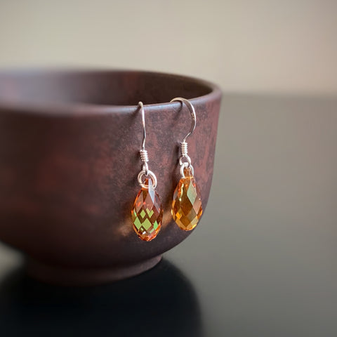 Crystal Teardrop Earrings, Copper Orange Color, Sterling Silver
