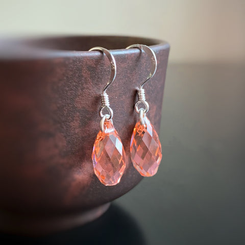 Crystal Teardrop Earrings, Peach Color, Sterling Silver