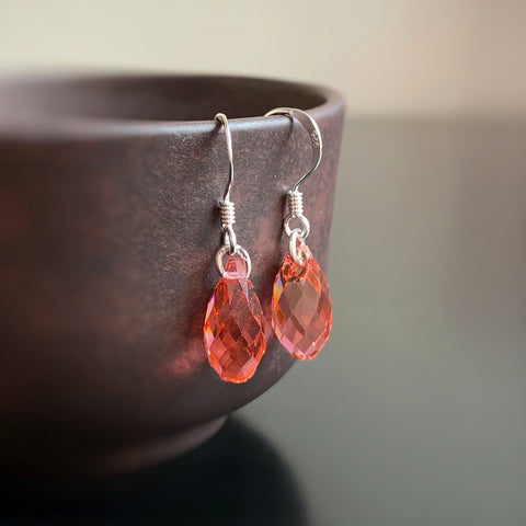 Crystal Teardrop Earrings, Coral Pink Color, Sterling Silver