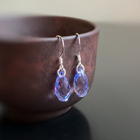 Crystal Teardrop Earrings, Lavender Purple Color, Sterling Silver