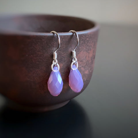 Crystal Teardrop Earrings, Purple Opal Color, Sterling Silver