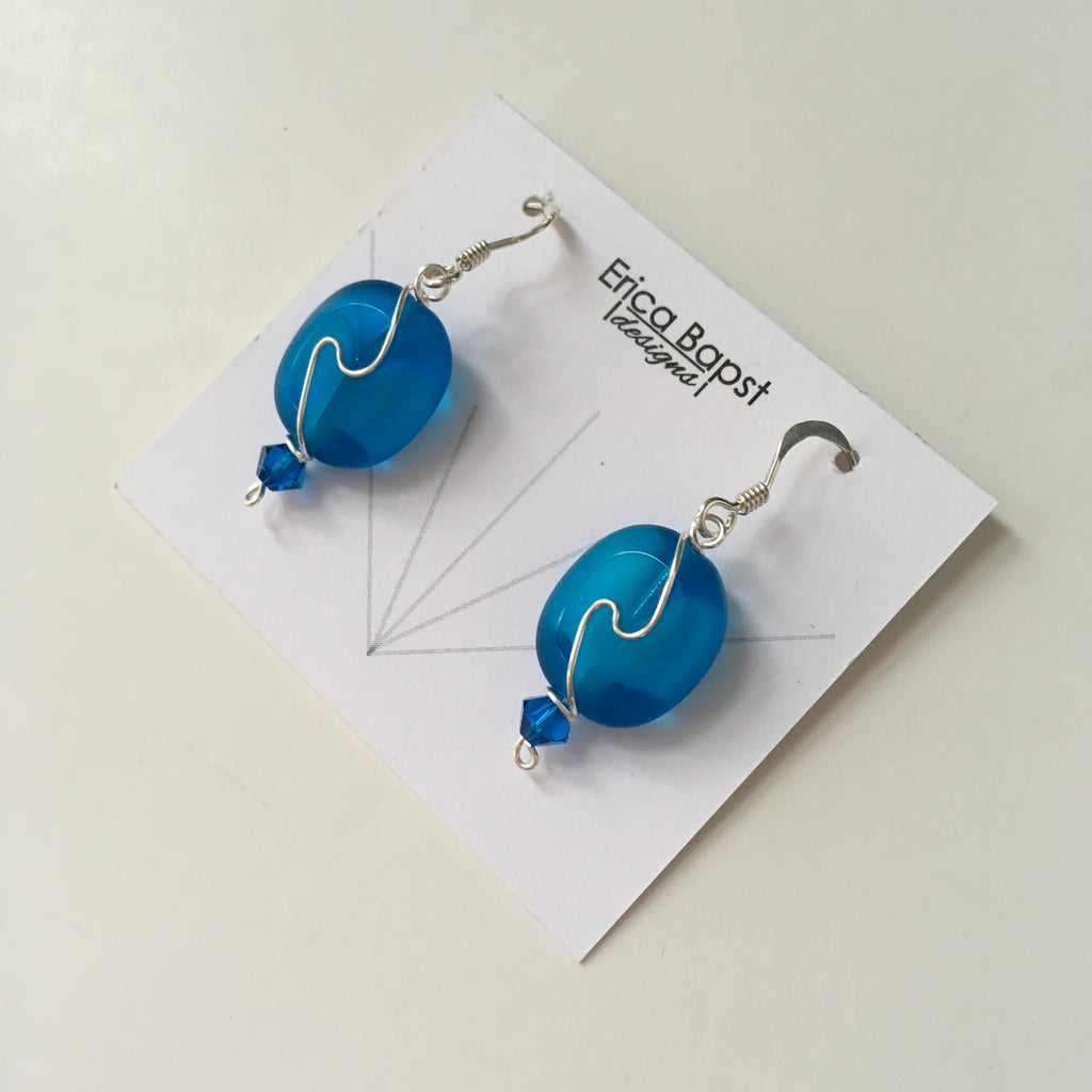 Oval Swirl Earrings in Caribbean Blue Glass