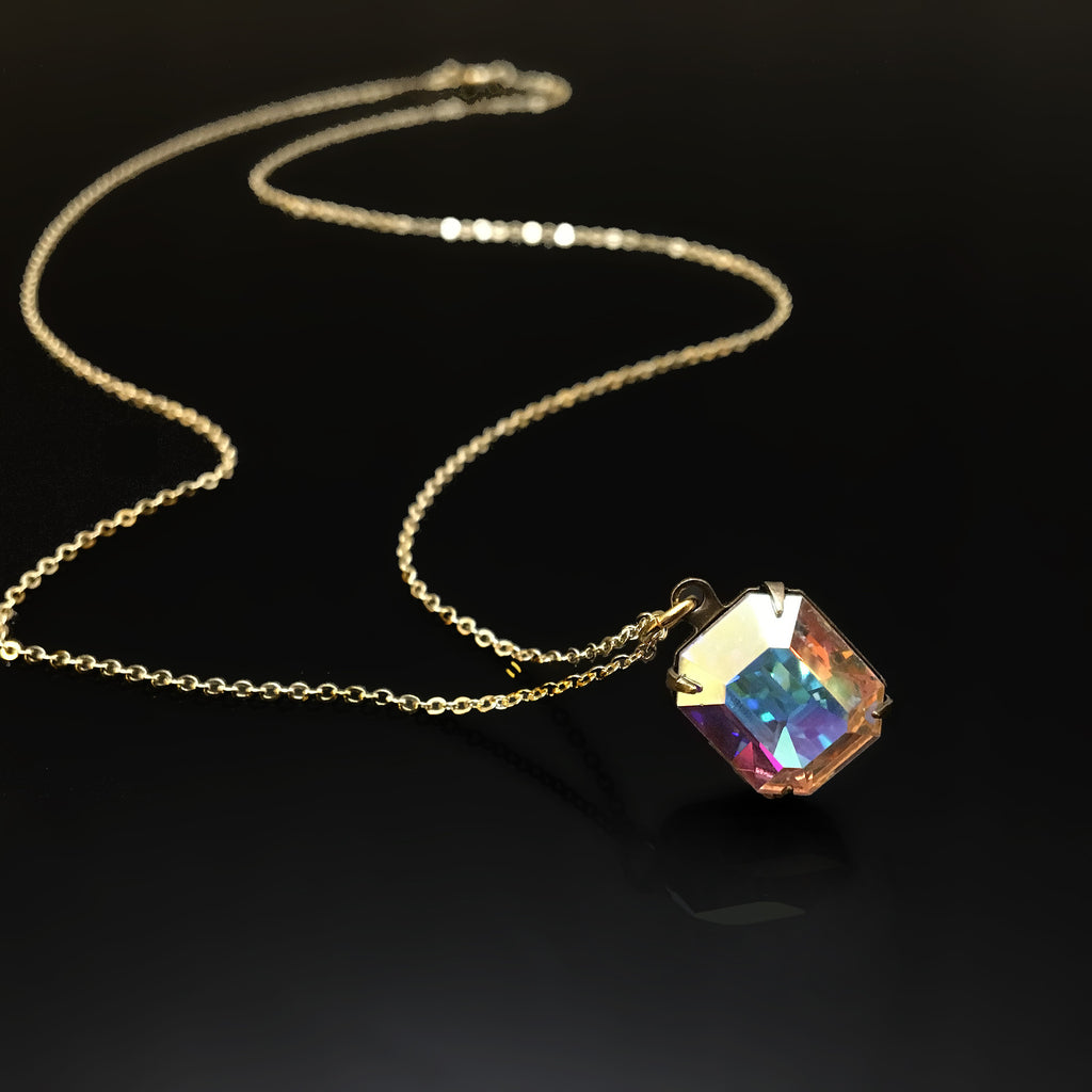gold necklace with clear AB emerald cut rhinestone