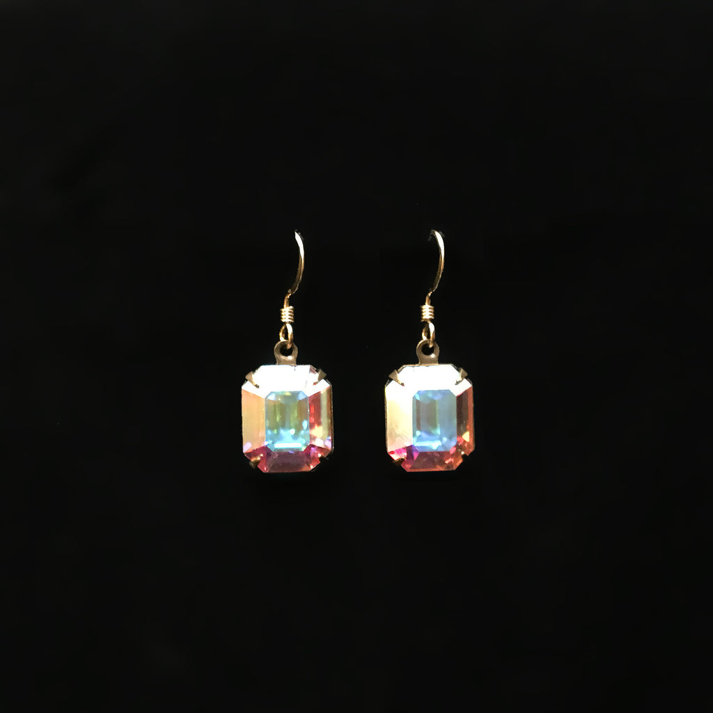 gold earrings with clear AB emerald cut rhinestone crystals