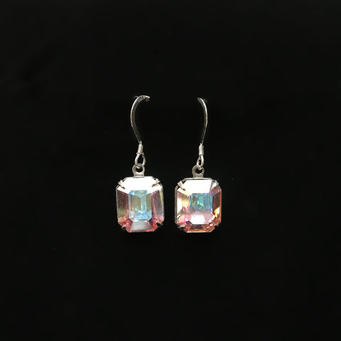 sterling silver earrings emerald cut clear AB Swarovski