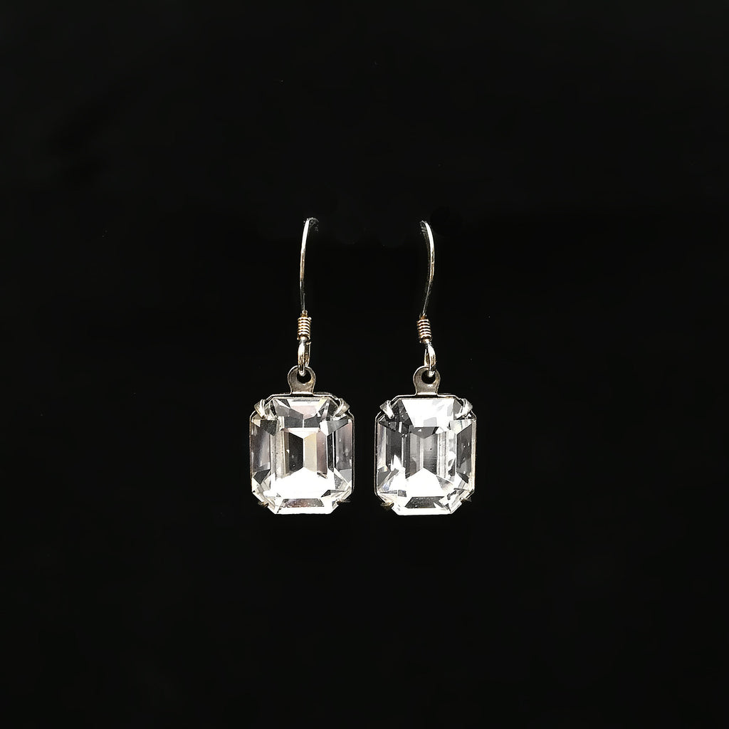 emerald cut crystal earrings in clear and silver
