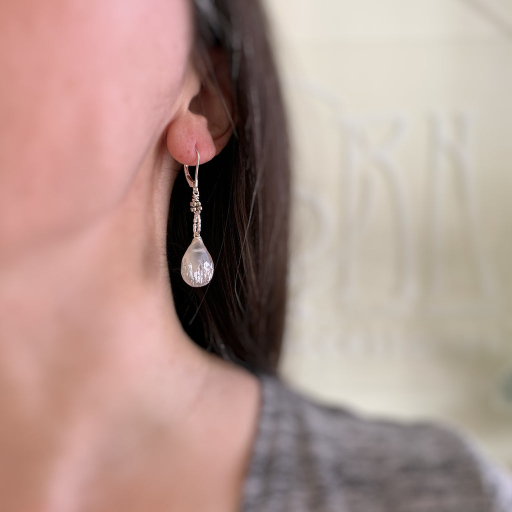 hand sculpted and silver leafed ancient glass inspired teardrop long earrings