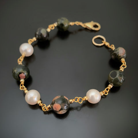 handmade link bracelet with white freshwater pearls and ocean jasper, gold tone