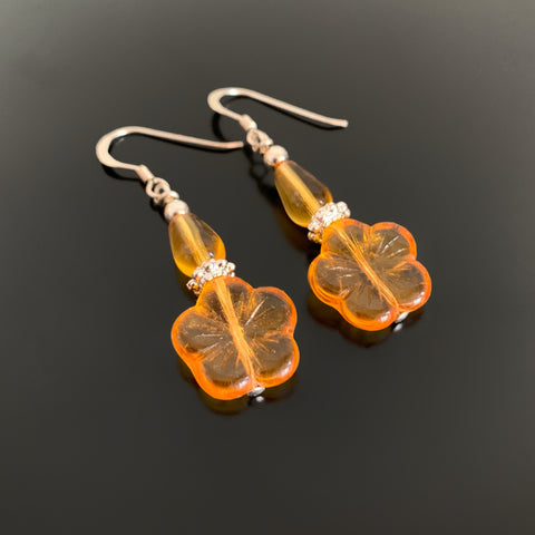 Flower Drop Earrings in Amber
