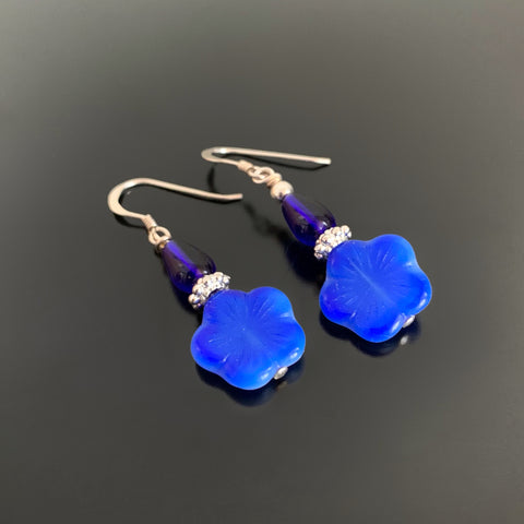 Flower Drop Earrings in Blue