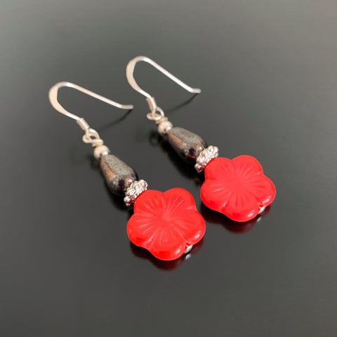 Flower Drop Earrings in Red