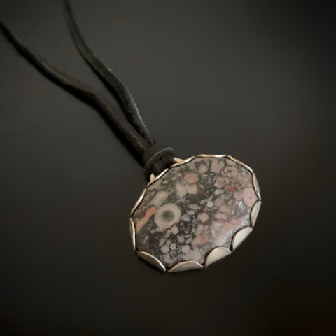 Fossil Jasper Sterling Silver Pendant on Leather Necklace