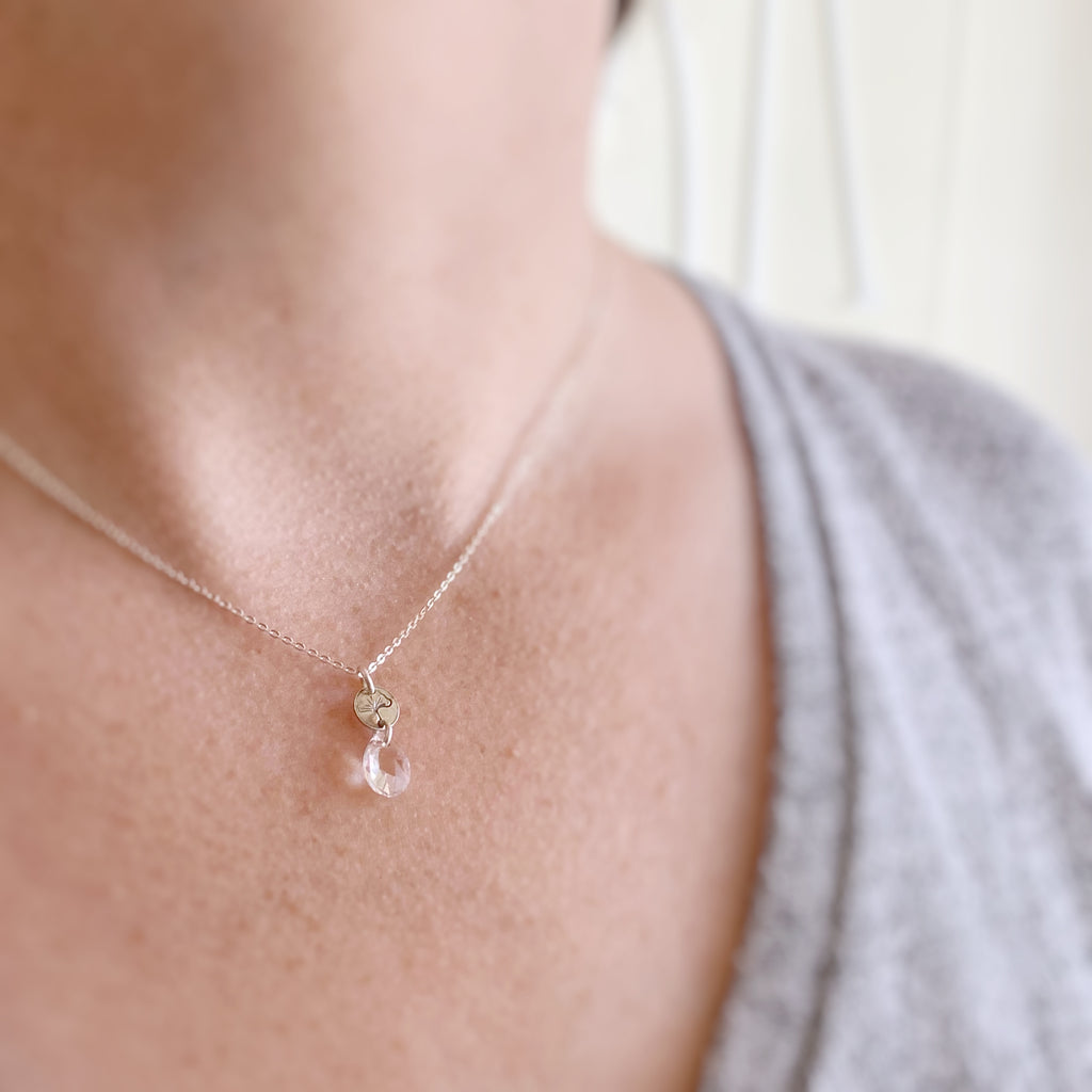 Sterling Silver Ginkgo Charm Necklace with Clear Crystal