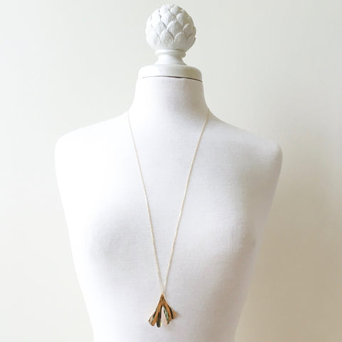 large gold brass ginkgo pendant on long chain | Erica Bapst Designs | Adorn Jewelry and Accessories | Canandaigua NY