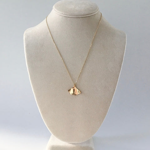 Golden brass handmade brass ginkgo leaf pendant