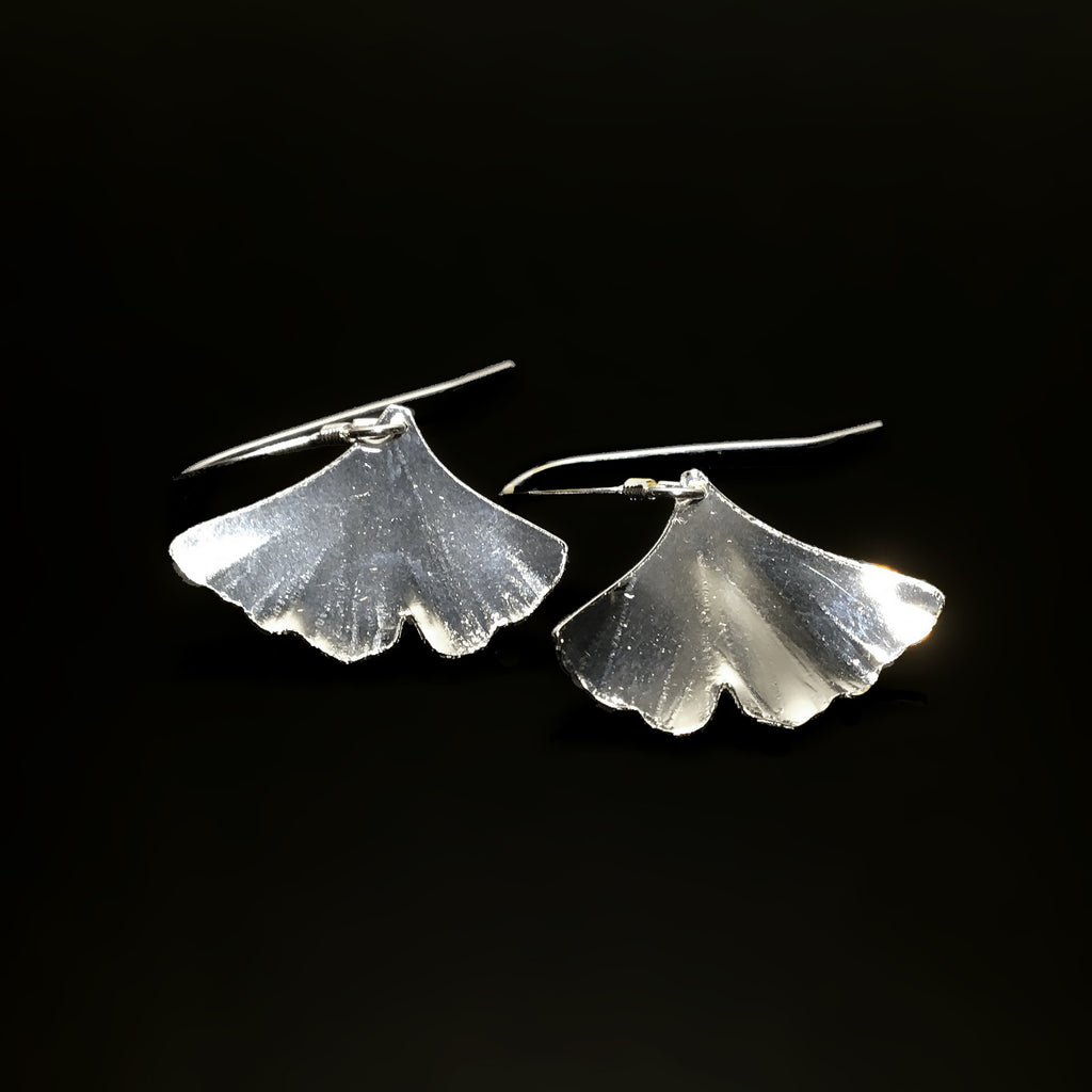 sterling silver ginkgo earrings