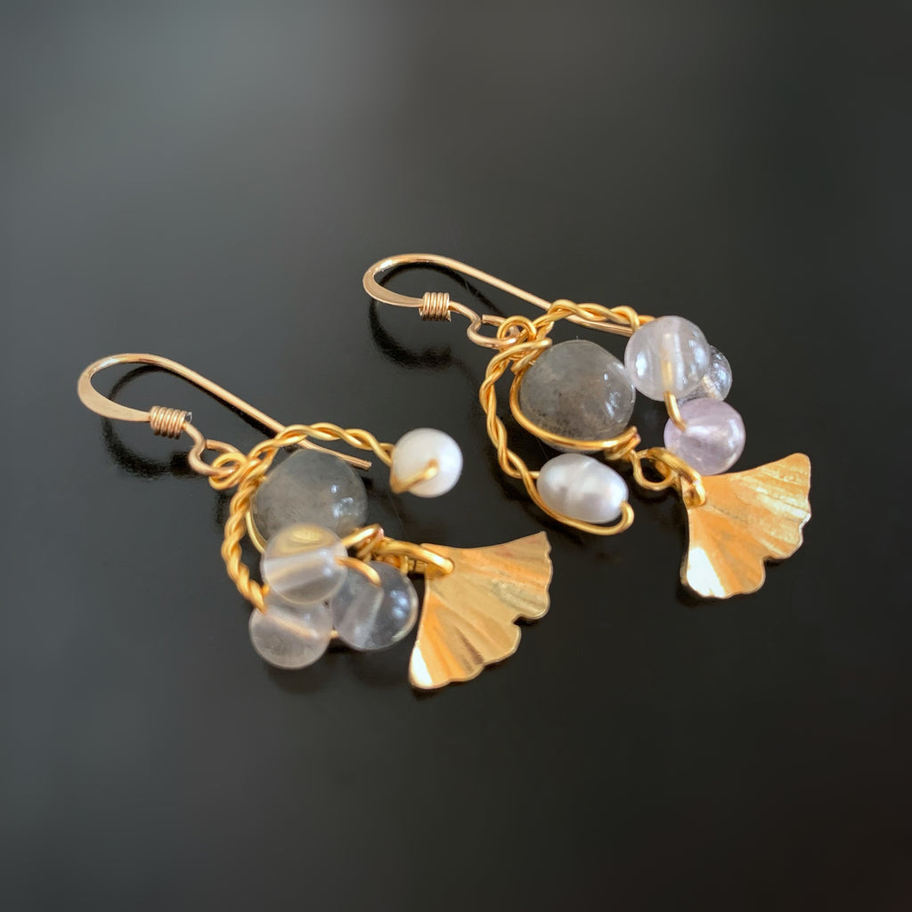 Ginkgo Leaf Bouquet Earrings in Gold with Labradorite, Freshwater Pearl and Fluorite