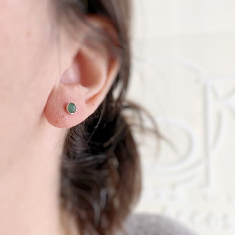 Green Aventurine Small and Simple Silver Post Earrings
