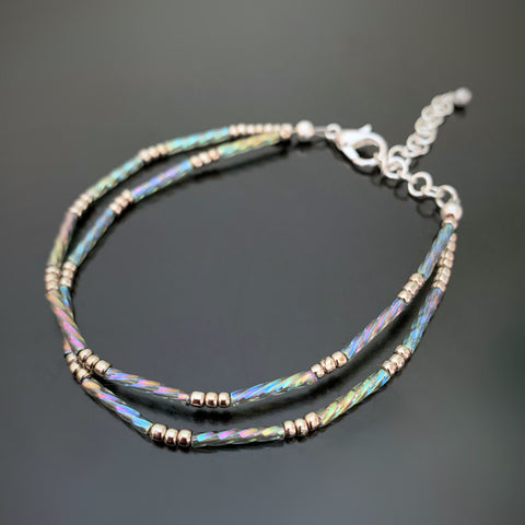 twisted column double strand beaded bracelet with silver accents