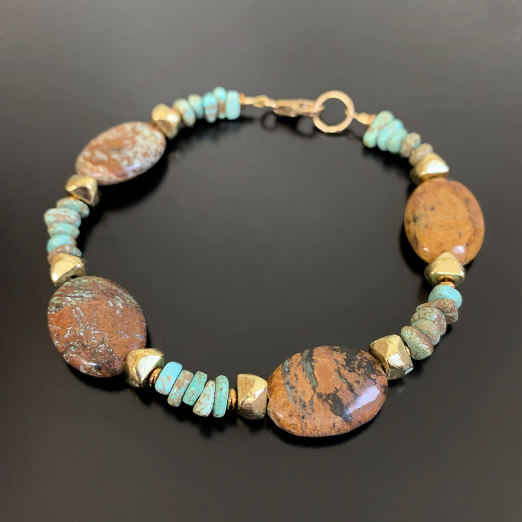 brown jasper and pale chalk turquoise bracelet
