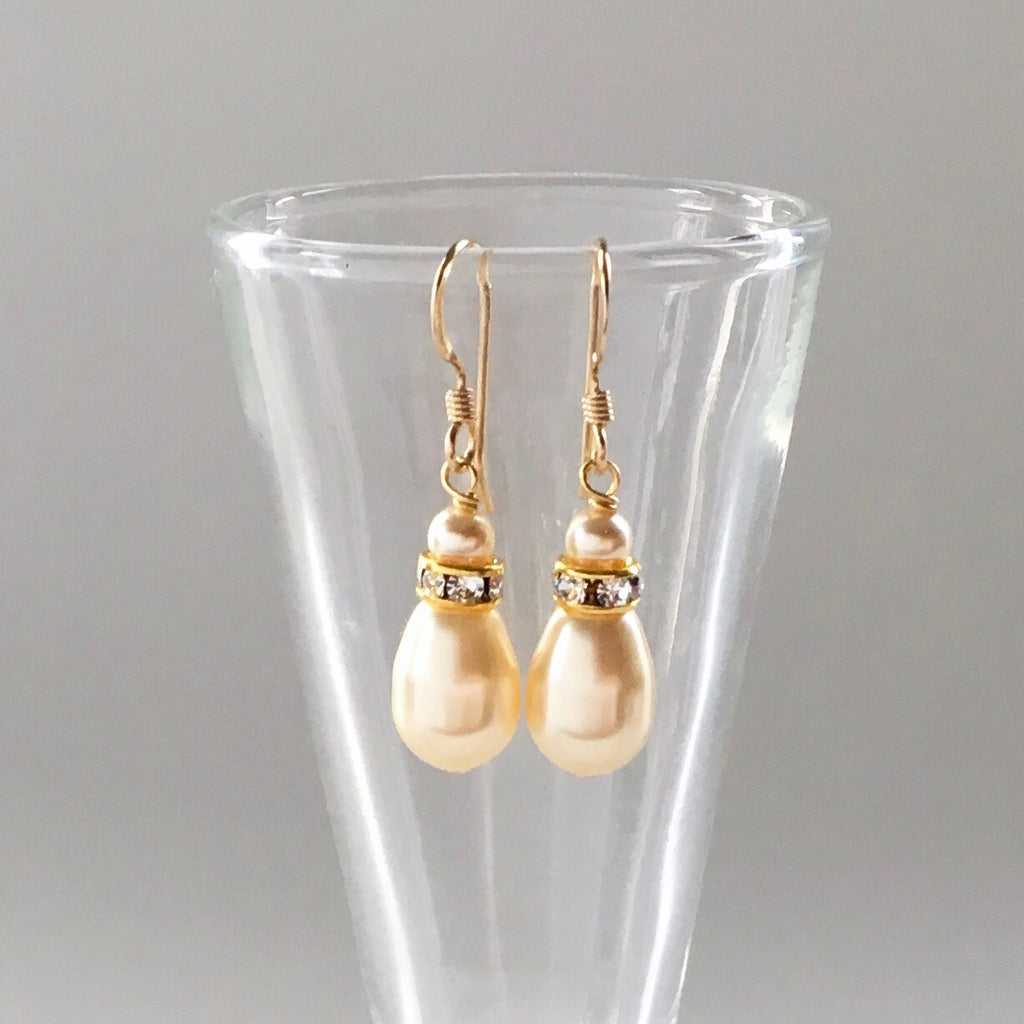 Gold bridesmaids earrings teardrop pearl perfect gift