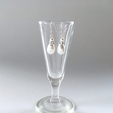 Bridal earrings white teardrop pearl