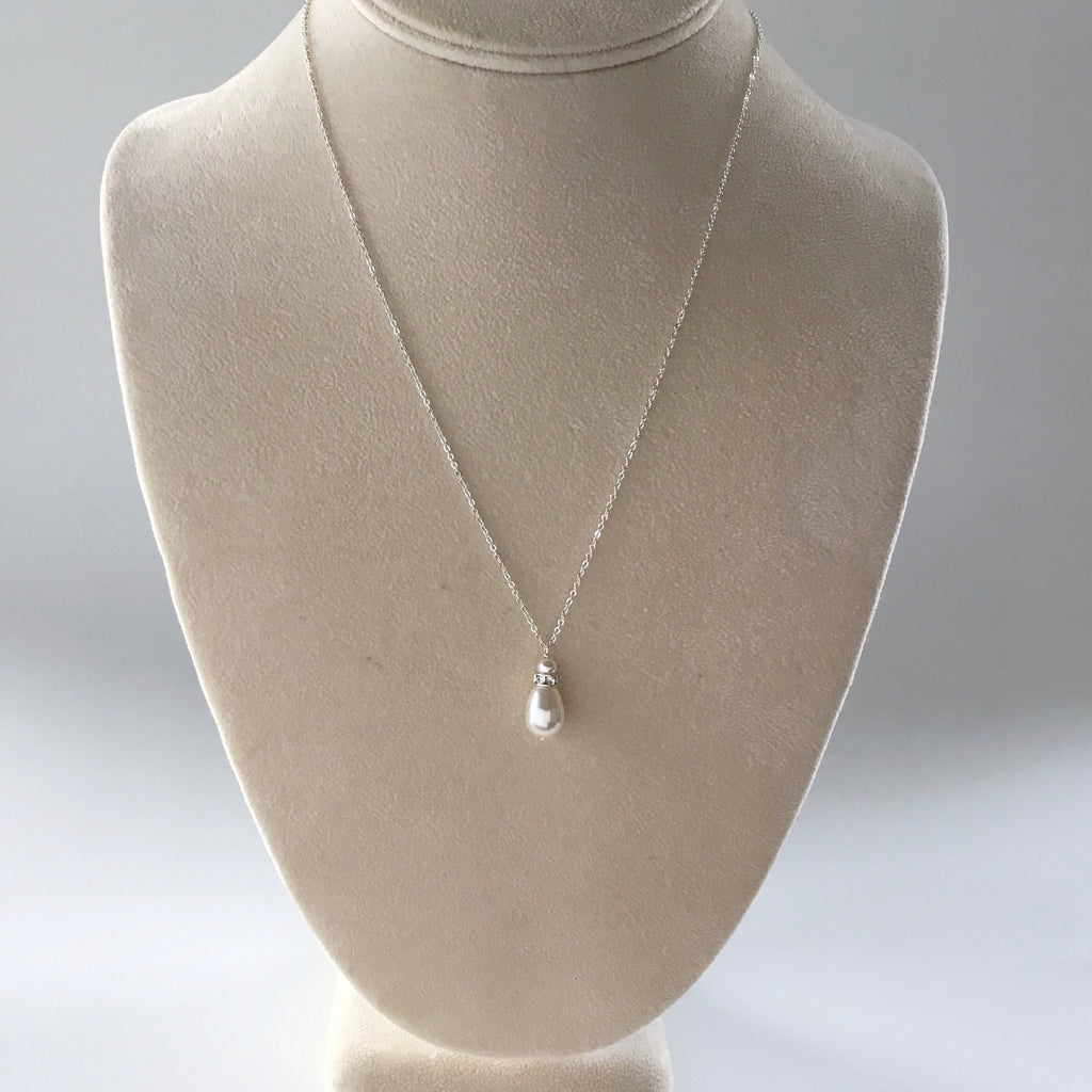 Custom handmade bridal necklace, teardrop white pearl and silver chain great for bridesmaids