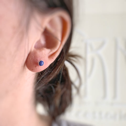 Blue Lapis Small and Simple Silver Post Earrings