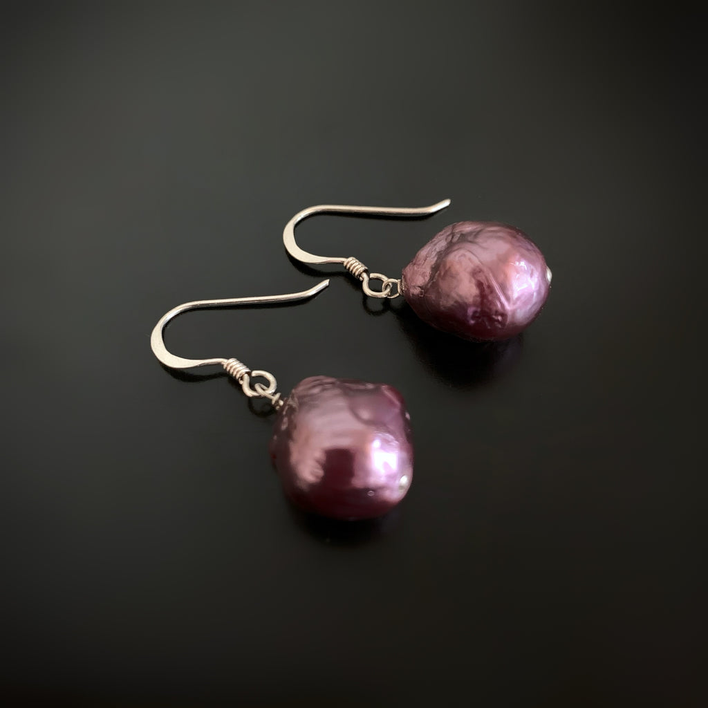 Purple Baroque Freshwater Pearl Earrings