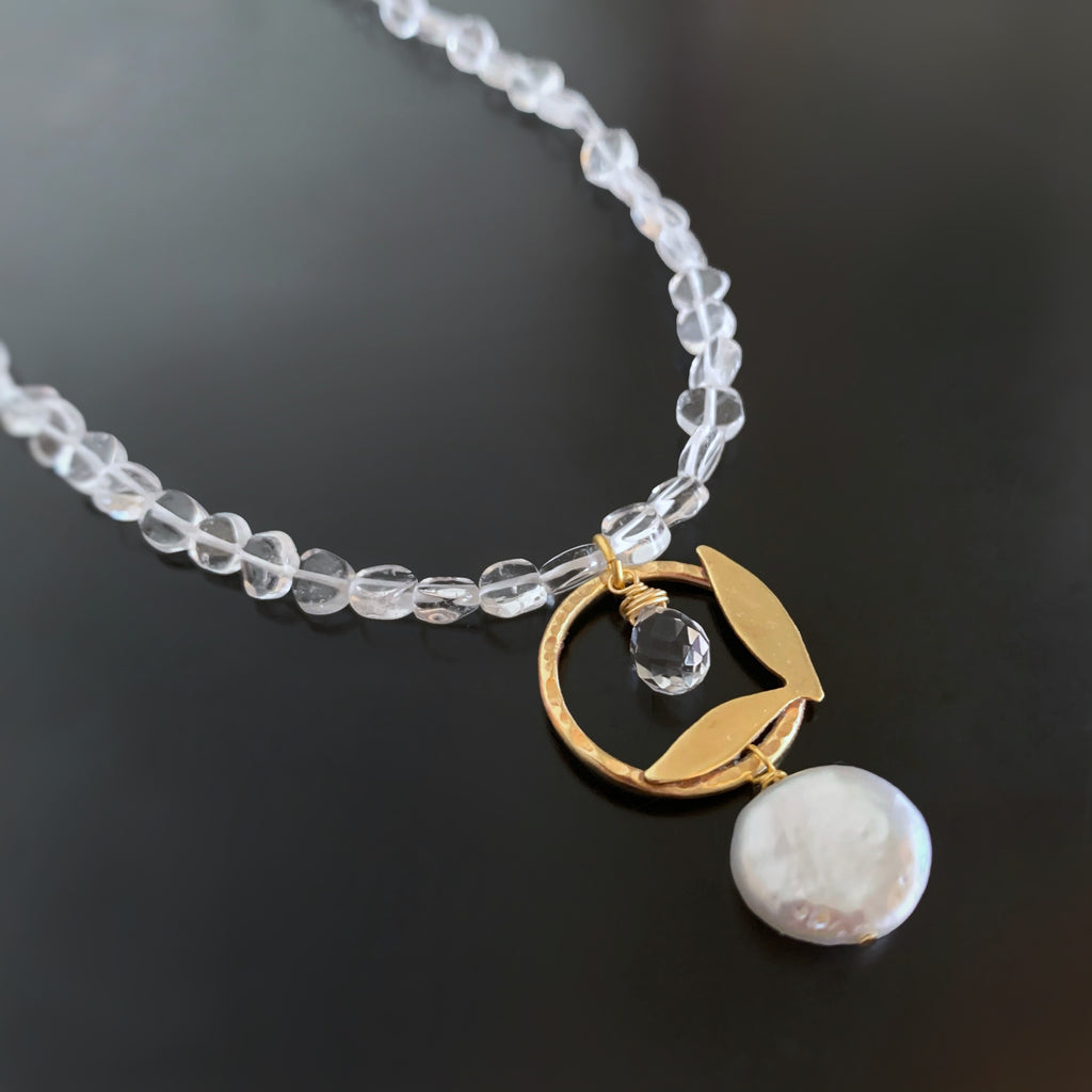 Leaflet Pendant in Golden Brass with White Freshwater Coin Pearl and Quartz Crystal
