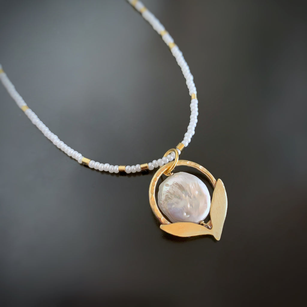 Leaflet Pendant in Golden Brass with White Freshwater Coin Pearl