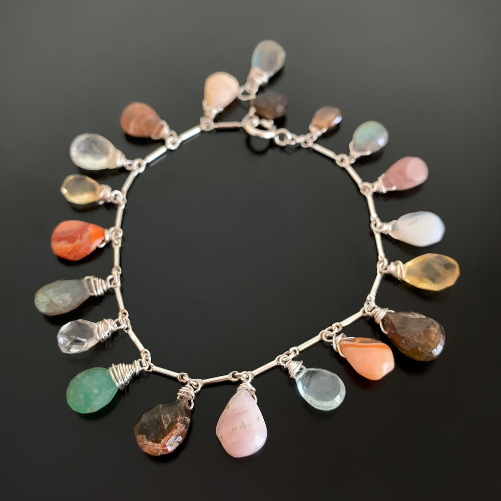 sterling silver bracelet with multi semiprecious stone teardrop fringe dangles