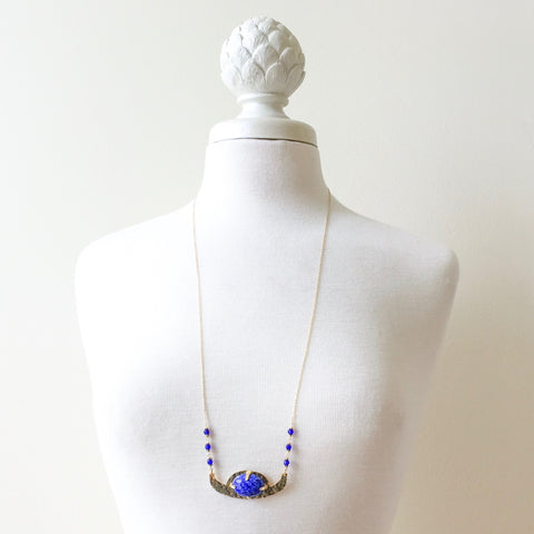 Moondance, moonstruck, crescent necklace in blue lapis by Erica Bapst Designs | Adorn Jewelry and Accessories | Canandaigua NY