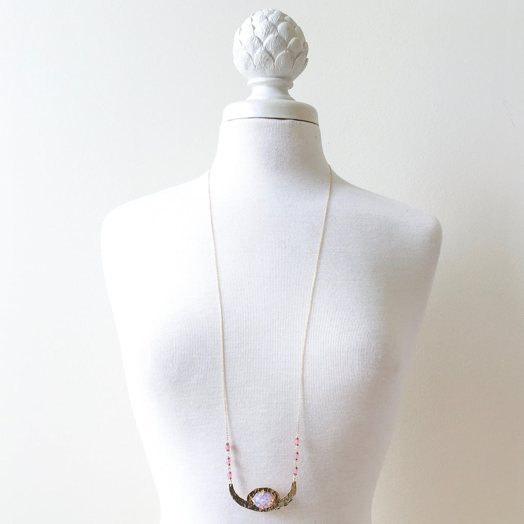 Moondance, moonstruck, crescent necklace in pink opal by Erica Bapst Designs | Adorn Jewelry and Accessories | Canandaigua NY