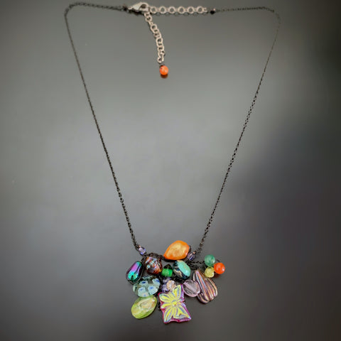 Bouquet Necklace in Multi Colors with Black Chain