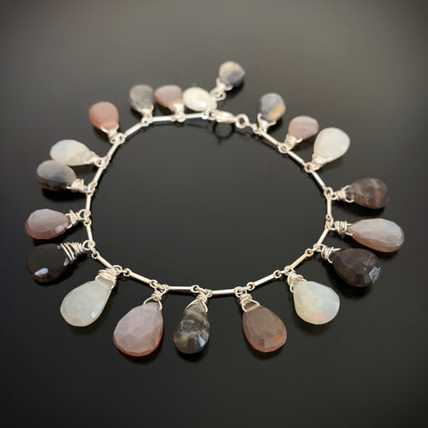 Multi Tonal Moonstone Teardrop Fringe Bracelet in Sterling Silver