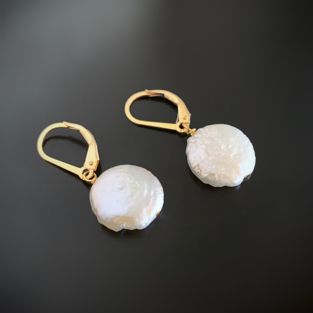 White Freshwater Coin Pearl Gold filled Leverback Earrings
