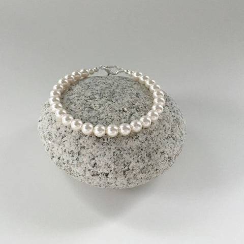 classic pearl strand bracelet for brides, bridal attendants, bridesmaids or everyday wear.