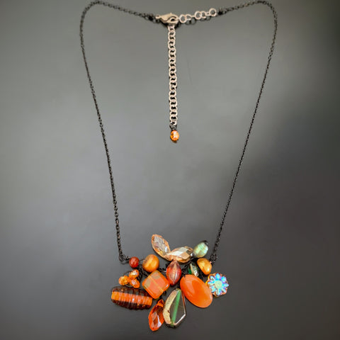 Bouquet Necklace in Orange with Black Chain